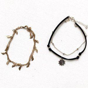 3/$25 Ankle Bracelet Set of 2: Sun & Leaves
